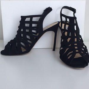 Authentic Manolo Blahnik Dance SuedeCaged Sandals